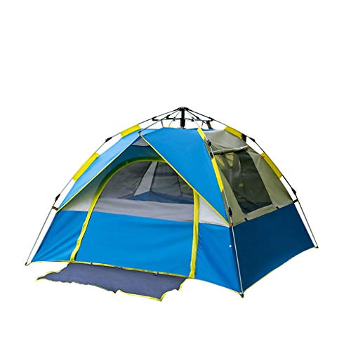 ZHJ 3-4 People Outdoor Tent Automatic Speed Open Beach Tent Camping Fake Double Sunscreen Tent Frame Tents (Color : A)