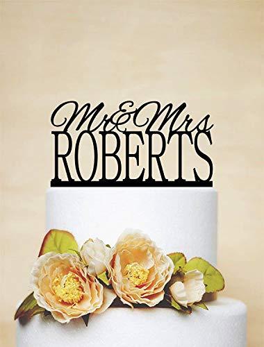 Mr And Mrs Design Cake Topper met uw naam van een last, elegante bruiloftcake topper, gepersonaliseerde cake topper, rustieke huwelijkscaketopper
