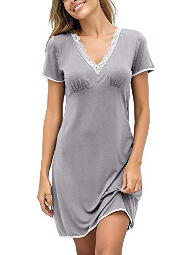 EKOUAER Damen Nachthemd Kleid Nachtwäsche Negligees Kurzarm Mit Spitzenbesatz, Typ2_Grau, L