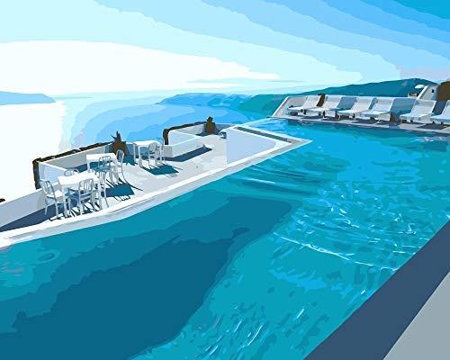AOTAO Dubai Swimming Pool DIY Malerei Von Zahlen Auf Leinwand Für Wohnkultur 40X50Cm