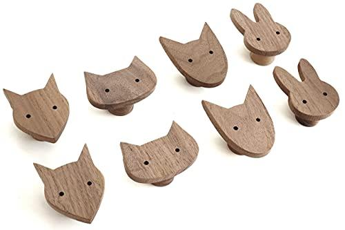 2 tiradores de madera de nogal con diseño de conejo de animales para muebles infantiles, pomos para cómoda, armarios, cajones, puertas, habitaciones infantiles, idea de regalo (2 conejos)