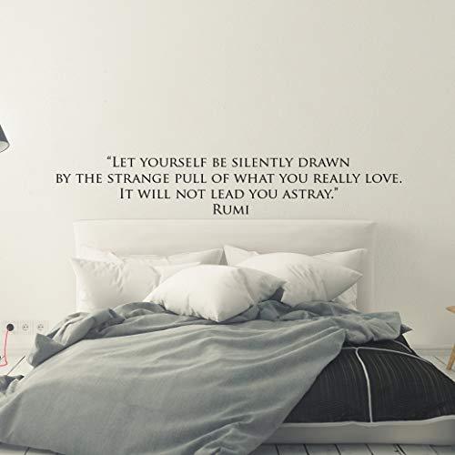"Dozili Wandaufkleber mit Zitat ""Let Yourself Be Silently Drawn Rumi"", personalisierbar, Vinyl, Spiritualität, Meditation, Motivation, klassisch, 61 cm"
