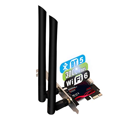 TEROW WiFi 6 PCIe WiFi Card 3000Mbps Bluetooth 5.0 | 802.11AX | Intel AX200 Dual Band 2.4G/574M 5.8G/2400M Wireless Network Card | MU-MIMO | Low Latency | Support Win 10 64 bit with Shield Cover