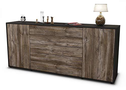 Stil.Zeit Sideboard Eleni/Korpus anthrazit matt/Front Holz-Design Treibholz (180x79x35cm) Push-to-Open Technik & Leichtlaufschienen