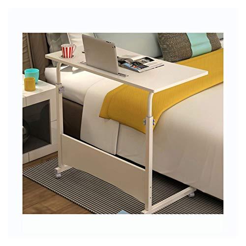 ALBBMY Mesa de altura ajustable para portátil, mesa de trabajo con ruedas, altura ajustable (color B blanco puro 80 x 40)