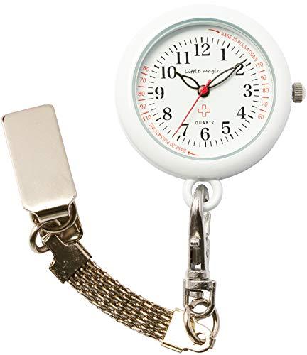 【リトルマジック】[自分で電池交換可][軽量化] 3種のチェーン ナースウォッチ [ 日本製ムーブメント] [ 電池容量最長3年] [ 3気圧防水 ] [ 蓄光 ] [ セラミック&クリア塗装 ]シンプル 懐中時計 防水 時計 看護師 男女兼用 (便利チェーン2種 リール付き)(ホワイト NS30)