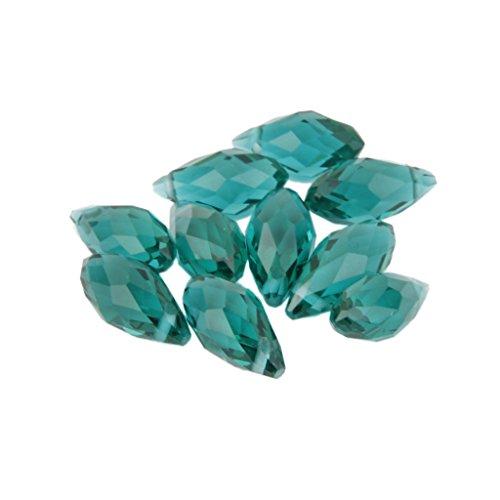 10pcs Granos de Vidrio Crista Forma Lágrima Fabricación de Joyas Artesanal -Verde Oscuro