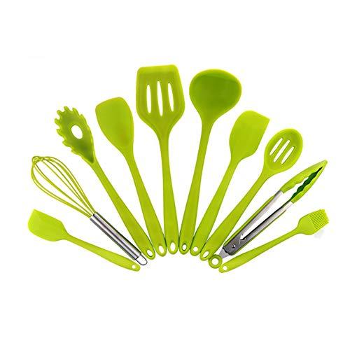æ— Juego de 10 utensilios de cocina de silicona, resistentes al calor, kit de utensilios de cocina, espátula, cuchara, batidor de huevos, cepillo de aceite para sartenes antiadherentes