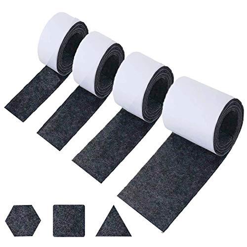 Feltro Adesivo Rotolo,4 Rotolo Feltrin(Larghezza 10cm/5cm/3cm/2cm)Feltrini Taglio Libero in Qualsiasi Forma,Feltro Adesivo Per Sedie per Mobili