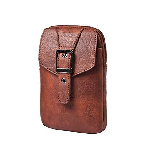 Boss Bag multifunctionele sporttas zak schoudertas mobiele telefoon tas mannen dragen riem zakken casual PU lederen borstzak (kleur: bruin, maat: S)