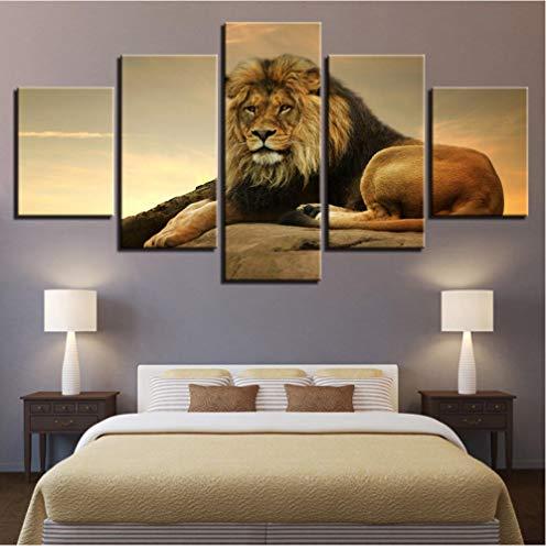 Sin marco Lienzo HD Impresiones Cartel Arte de la pared Imágenes de animales 5 Piezas El rey de las bestias Pinturas de león para la sala de estar Decoración del hogar-40 * 60cm 40 * 80cm 40 * 100