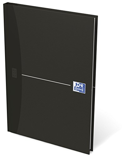 OXFORD Gebundenes Buch A5 kariert 96 Blatt Notizbuch mit abtrennbaren Ecken schwarz Geschäftsbuch Tagebuch Kladde Journal Skizzenbuch