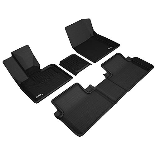 3D MAXpider BMW I3 2014-2019 Custom Fit All-Weather Car Floor Mats Liners, Kagu Series (1st & 2nd Row, Black)