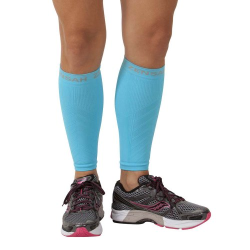 Zensah Compression Leg Sleeves, Aqua, Small/Medium