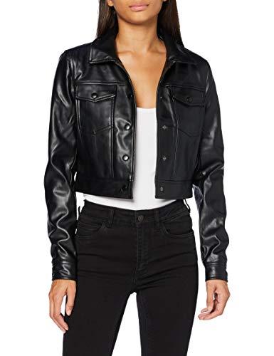 ONLY Damen ONLVIBE Faux Leather Trucker Jacket OTW Jacke, Black, L