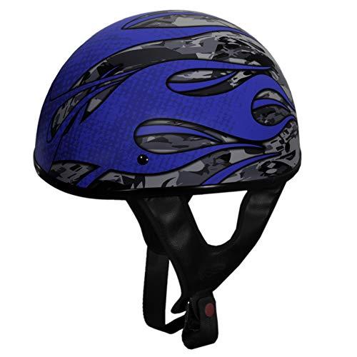 Fulmer, (1)3013024, Adult Shorty Motorcycle Helmet - DOT Approved - 301 TAC - Blaze Blue, L