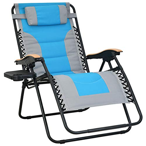 Patio Watcher Oversized Padded Zero Gravity Lounge Chair Patio Foldable Adjustable Reclining Chair with Cup Holder and Removable Pillow for Outdoor Yard Porch 1 Chair