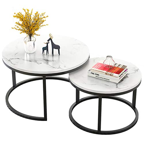 Simple Round Nesting Coffee Tables | Living Room Sofa Side End Tables with Black Metal Frame | Home Decor Sets (White, Set of 2)