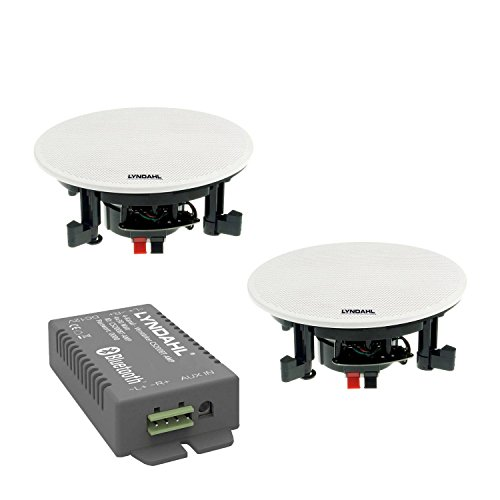 Lyndahl CS200BT-Kit wahlweise mit 2 oder 4 Lautsprechern inkl. Bluetoothverstärker, Einbaulautsprecher, Bluetooth, Deckenlautsprecher mit AUX-IN, Bluetoothlautsprecher mit 2 Lautsprechern