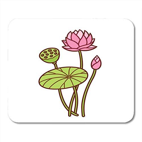Mauspads Rosa Cartoon Lotus Pflanze Botanische Blume Und Knospe Blatt Und Samen Hülse Wasserlilie Zeichnung Weiß Schöne Mauspad Für Notebooks, Desktop-Computer Büromaterial