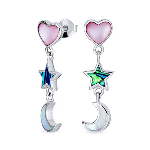 Romantic Celestial Crescent Moon Stars and Pink Heart White Mother of Iridescent Pearl Abalone Shell Inlay Dangle Earrings For Women Teens .925 Sterling Silver