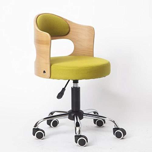 Arbeitsstuhl auf Rolle,Fitness Hocker mit Grün Leinen Kleidung Sitz,Sitzhöhe ca. 43-53 cm,bis 160kg,Deko Hocker mit Lehne für Friseur Facial Spa Medical Tatoo Stuhl Runde