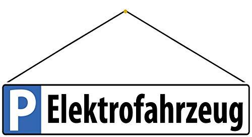 FS Parkplatzschild Elektrofahrzeug Blechschild Schild gewölbt Metal Sign 10 x 46 cm mit Kordel