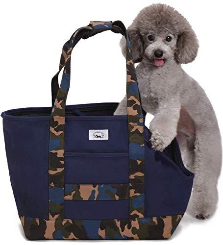[ENTRAMBI]ペット キャリー バッグ 犬 猫 キャリー バッグ トート スリング 小型犬 中型犬 キャリーケース (ネイビー×カモフラ)