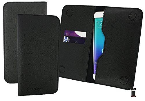 Emartbuy® Dark Grey Strukturierter PU Leder Magnetisch Schlank Brieftasche Tasche sleeve Halter ( Größe 3XL ) Geeignet Für Slok D1 Dual Sim Smartphone