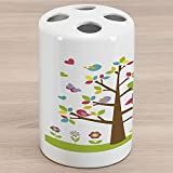 Ambesonne Cartoon Ceramic Toothbrush Holder, Colorful Tree with Owl and Birds Sunny Summer Day in The Park Theme, Decorative Versatile Countertop for Bathroom, 4.5' X 2.7', Multicolor