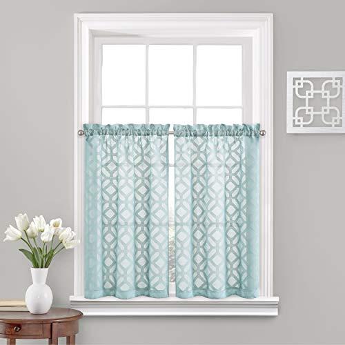 "Vue Trellis Clip Small Panel Tiers Privacy Window Treatment Pair Bathroom, Living Room, 52"" x 45"", Aqua"