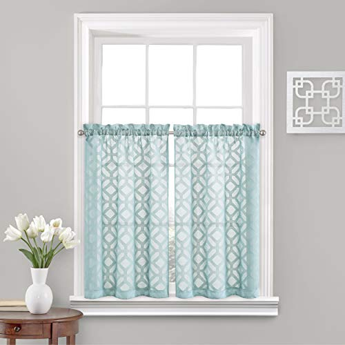 "Vue Trellis Clip Small Panel Tiers Privacy Window Treatment Pair Bathroom, Living Room, 52"" x 45"", Aqua"