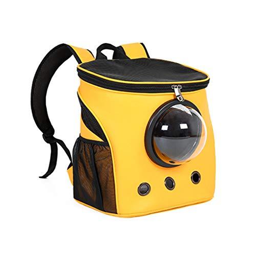 JXLBB Sac de Chat Épaule Chat Portant Un Sac à Dos de Voyage Grand Portable Bag Sac de Chien Teddy Space Pet Cabine Transparente Apparence élégante (Color : Yellow)