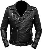 NM-Fashions Mens Biker Negan Jacket Dead Costume Jeffrey Dean Morgan Walking Motorcycle Jacket, Black Faux Leather, Large