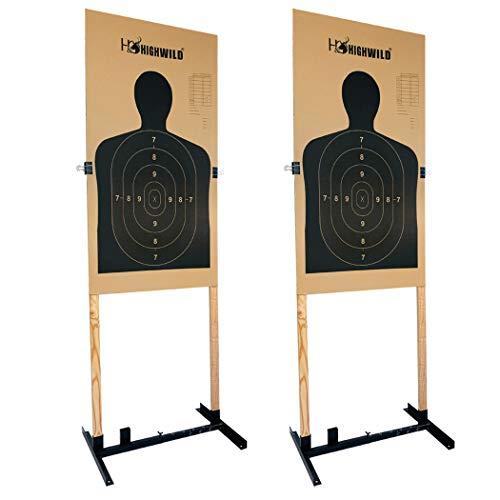 Highwild Adjustable Target Stand Base for Paper Shooting Targets Cardboard Silhouette - H Shape - USPSA/IPSC - IDPA Practice - Upgraded Version (2 Pack)