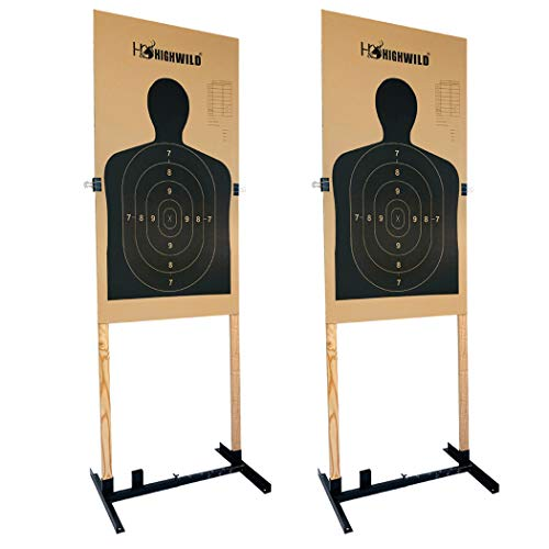 Highwild Adjustable Target Stand Base for Paper Shooting Targets Cardboard Silhouette - H Shape - USPSA/IPSC - IDPA Practice - Upgraded Version (2 Pack)