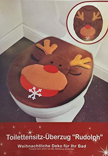 J.A. Woll GmbH WC Deckel-Bezug Rudolph Weihnachten Toilettendeckel-Überzug flauschig Deko Elch