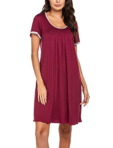 Ekouaer Plus Size Nightgowns Women Summer Short Sleeve Sleepwear Plain Dress Wine Red XXL