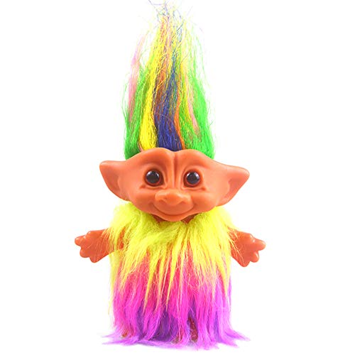 Lucky Troll Dolls,Vintage Troll Dolls Chromatic Adorable for Collections, School Project, Arts and Crafts, Party Favors - 7.5' Tall Dress(Include The Length of Hair)