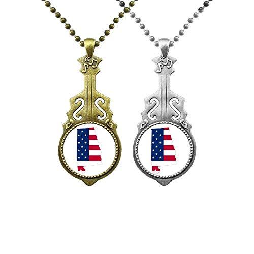 Alabama USA Karte Sterne Streifen Flagge Form Musik Gitarre Anhänger Schmuck Halskette Anhänger Paar
