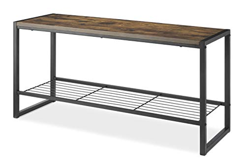 Whitmor Modern Industrial Entryway Bench w/Shoe Storage, Brown