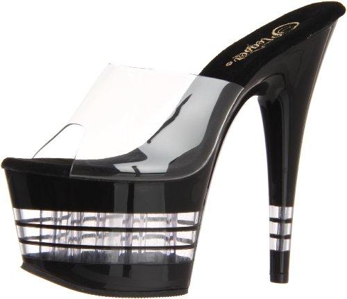 Pleaser ADORE-701 - Sandalias de vestir Mujer, Negro - Black (Clear), 41 (Zapatos)