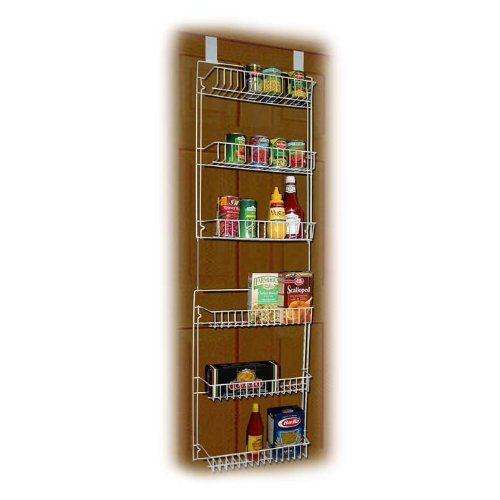 """Lavish Home (White) 6-Tier Adjustable Pantry Shelves and Door Rack for Home Organization and Storage, (L) 19"""" x (W) 5"""" x (H) 56-64"""