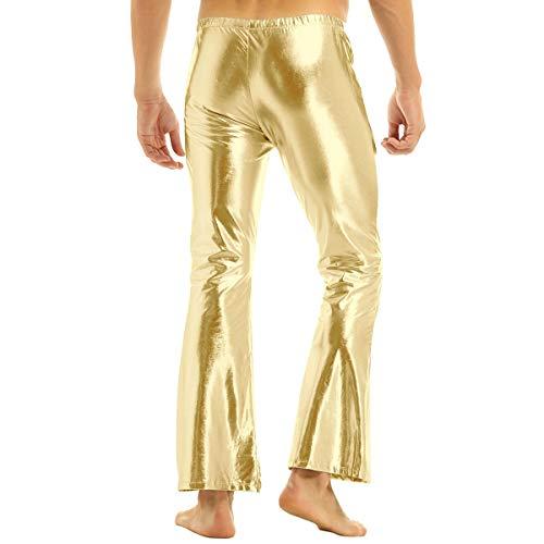 FEESHOW Herren Glänzend Leder Hose Metallic Schlaghose Jazzpants 70er 80er Jahre Hippie Tanz Kostüm Party Disco Clubwear Gold L(Taille...