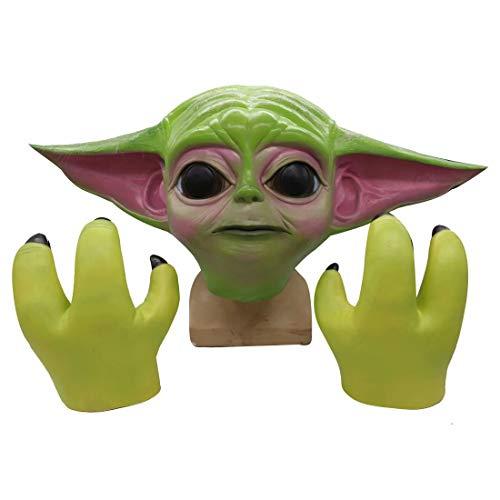 Star Wars Yoda Masker + Klauw Handschoenen, Latex Mandalorian Helm Masker Handschoenen, Cosplay Halloween Party Kostuum Props Eén maat Yoda Masker + Handschoenen