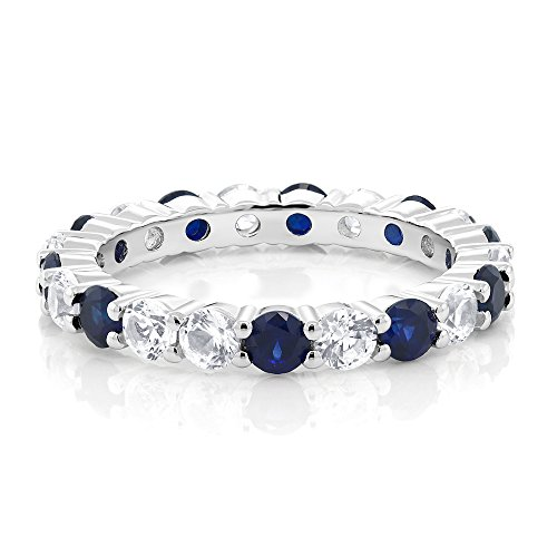 Gem Stone King Sterling Silver Blue and White Created Sapphire Women's Eternity Wedding Band Ring (2.20 cttw Round Cut)