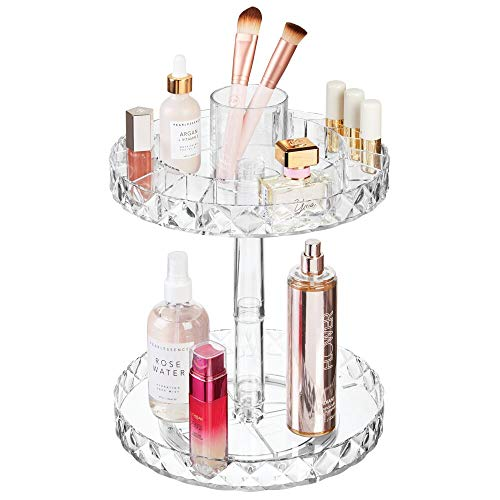 """mDesign Spinning 2-Tier Lazy Susan Makeup Turntable Storage Center Tray - Rotating Organizer for Bathroom Vanity Counter Tops, Dressing Tables, Cosmetic Stations, Dressers - 10.25"""" Round - Clear"""
