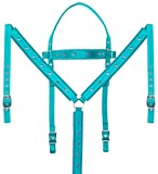 Acerugs Teal Horse TACK Western Set Synthetic Nylon Headstall Resin Breast Collar Crystal Show Barrel Racing Pleasure Trail (Teal, Standard Horse)