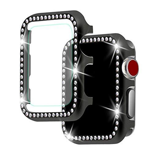 Diamond Case + Glass Aplicar a Apple Watch 5 4 3 Apple Watch Band Funda de 44 mm / 40 mm Iwatch Band 42mm / 38mm Cáscara Protectora de Cristal (Color : Black, Dial Diameter : 40mm Series 4)