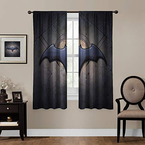 """Blackout Curtains, Batman (494), Rod Pocket Thermal Insulated Darkening Window Drapes for Bedroom, Cute Animal Boys Girls Room Décor, 55""""×63"""", 2 Panels"""